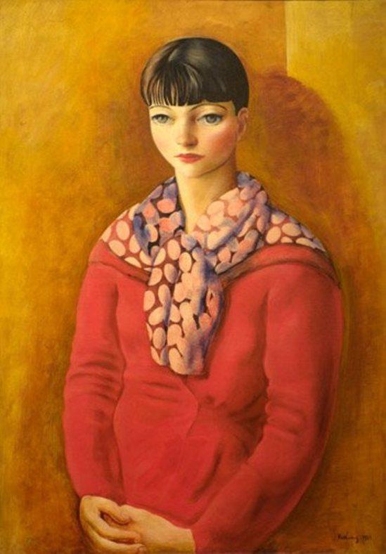 Kiki de Montparnasse à la robe rouge (1933) huile .KISLING