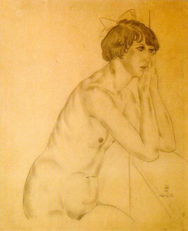 Léonard Foujita. Kiki de Montparnasse au ruban bleu dans les cheveux, vers 1927