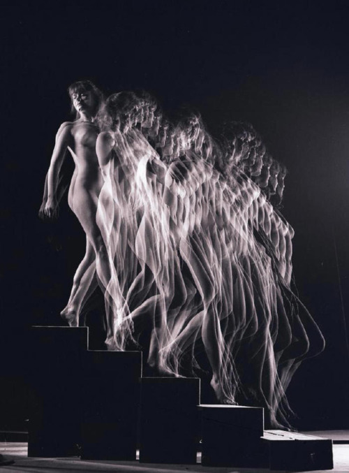 Nude Descending by Gjon Mili, a photographic rendering of Marcel Duchamp's Nude Descending a Staircase No. 2