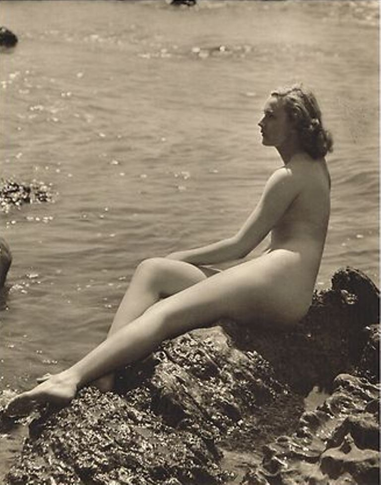 1940's VINTAGE Nude Lady Water Rocks Art Photogravure John Everard. Via ebay