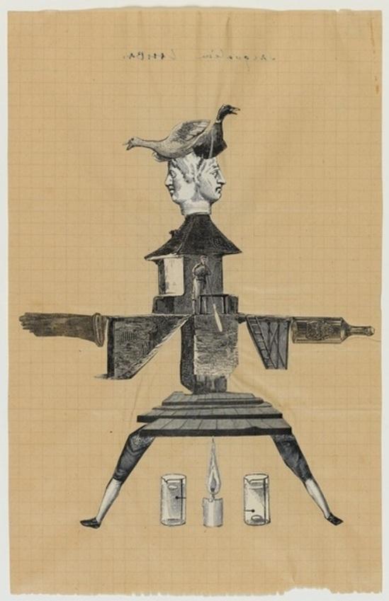 André Breton, Jacqueline Lamba, Yves Tanguy. Cadavres exquis 1938 Via RMN