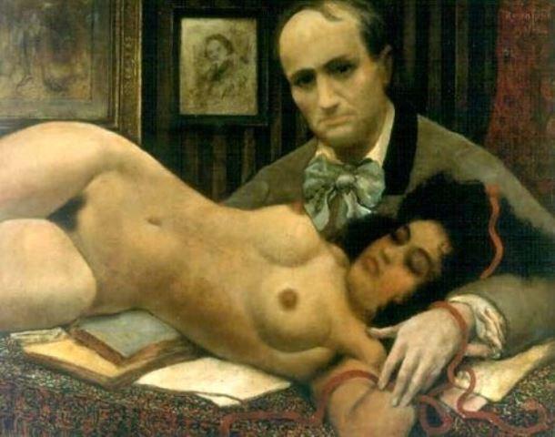 Armand Rassenfosse. Baudelaire et sa muse 1920 Huile sur toile