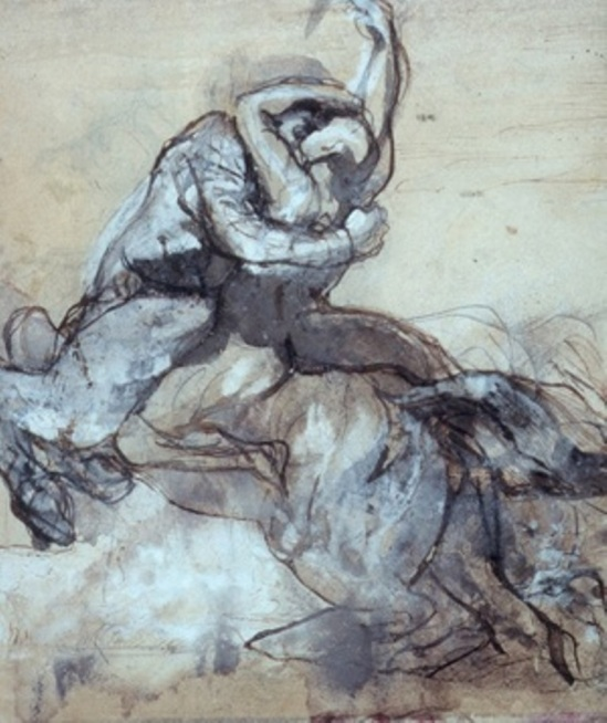 Auguste Rodin.  Centaur abducting a young man
