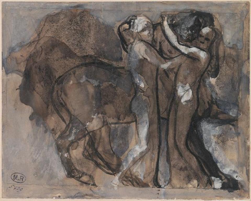 Auguste Rodin. Centaure enlacant deux femmmes vers 1880, plume,lavis brun,gouache ; papier (beige) ; papier