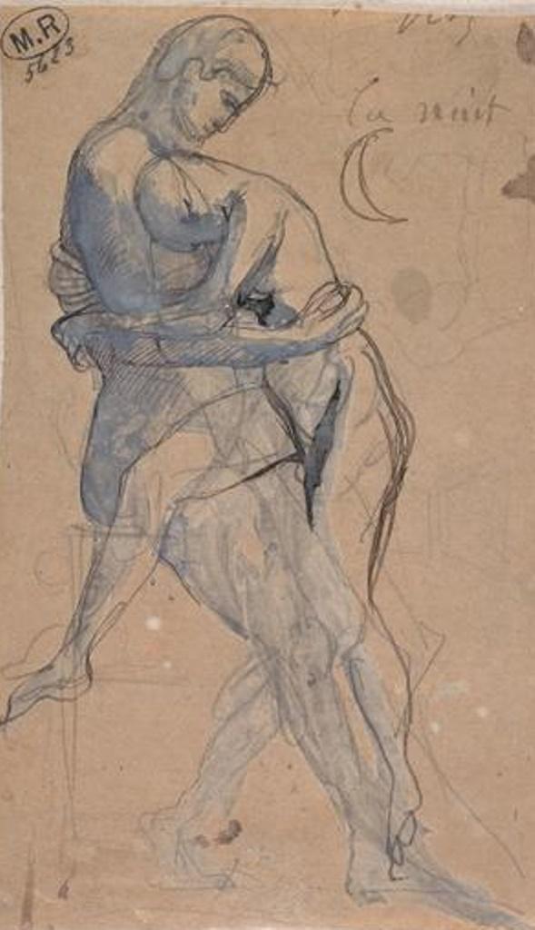 Auguste Rodin. Couple enlacé au clair de lune vers 1880, mine de plomb,plume ,encre brune,gouache