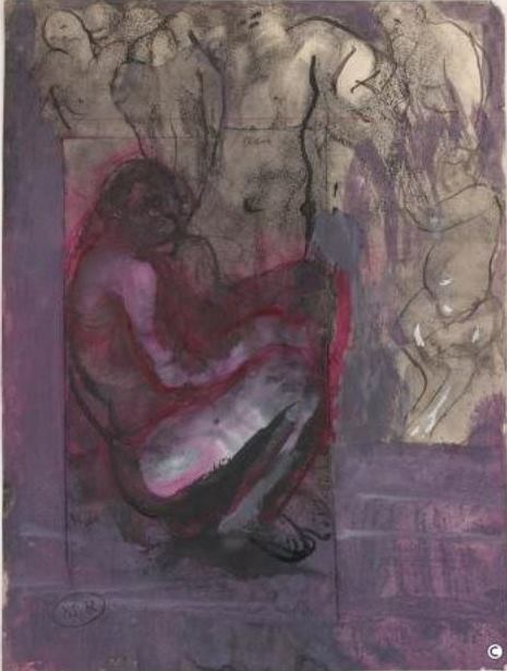 Auguste Rodin. Dans la m... vers 1880 Crayon, plume et encre, lavis d'encre et gouache sur papier, collé sur un papier Via Musée Rodin
