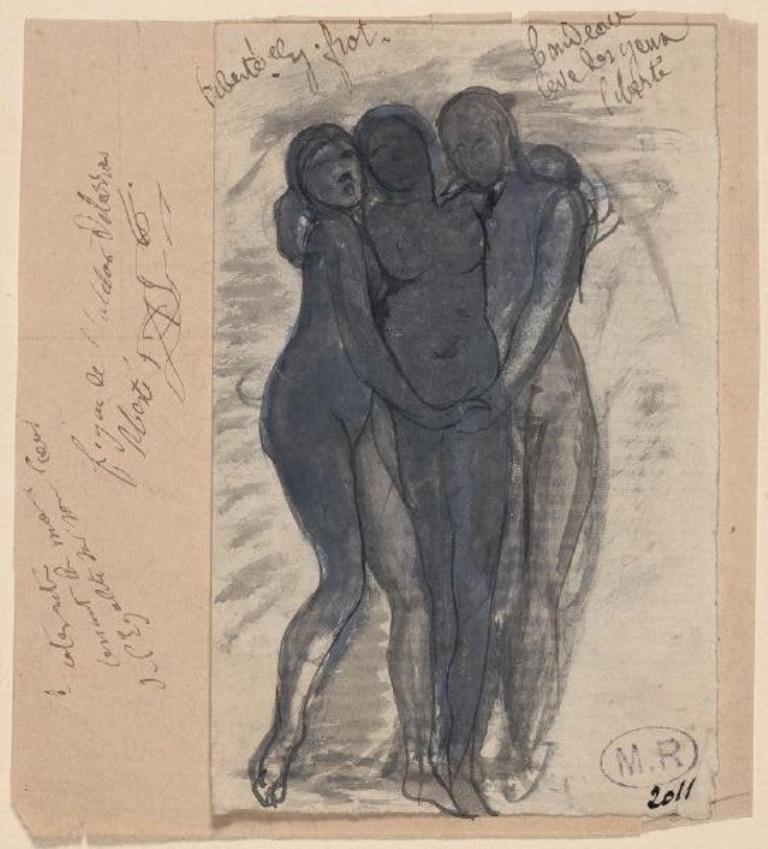 Auguste Rodin.  vers 1882, crayon graphite ; plume ; lavis gris ; gouache ; papier