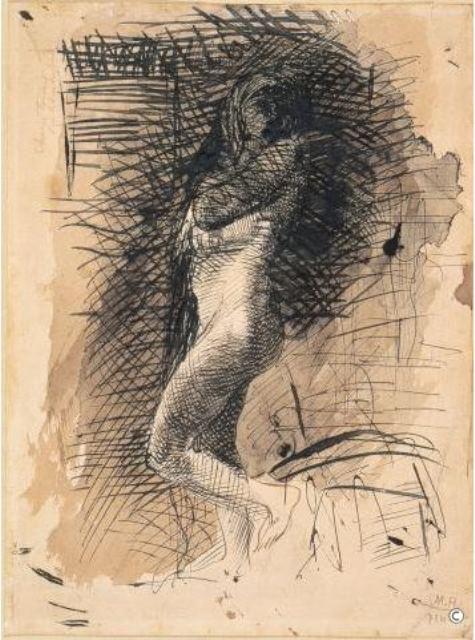 Auguste Rodin. Eve vers 1884 Plume et encroire noire lavis d'encre brune sur papier Via musée Rodin