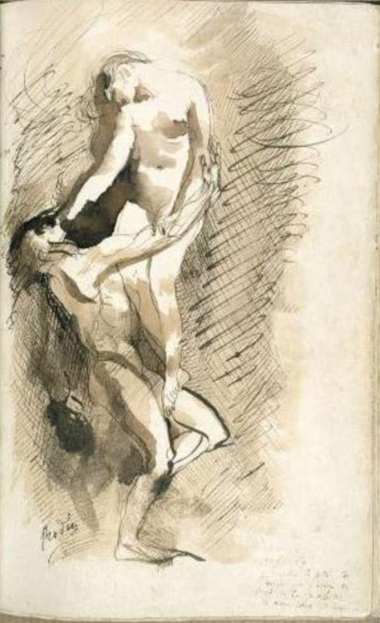 Auguste Rodin. Extrait d'un exemplaire des Fleurs du mal Plume et encre brune, lavis d'encre brune Via musée Rodin