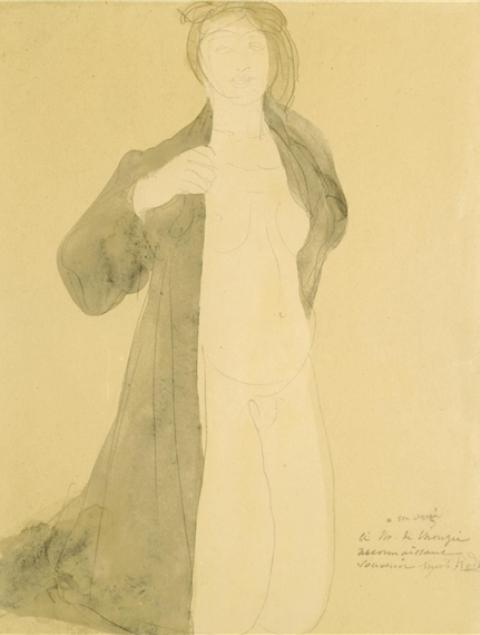 Auguste Rodin. Femme à genoux nue sous un manteau 1900.  Watercolour and pencil on paper