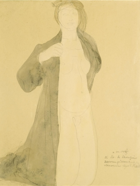 Auguste Rodin. Femme à genoux nue sous un manteau 1900.  Watercolour and pencil on paper
