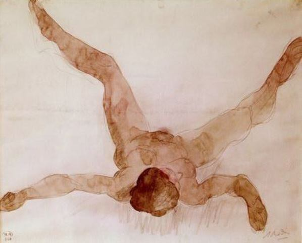 Auguste Rodin. Nude female lying on her back