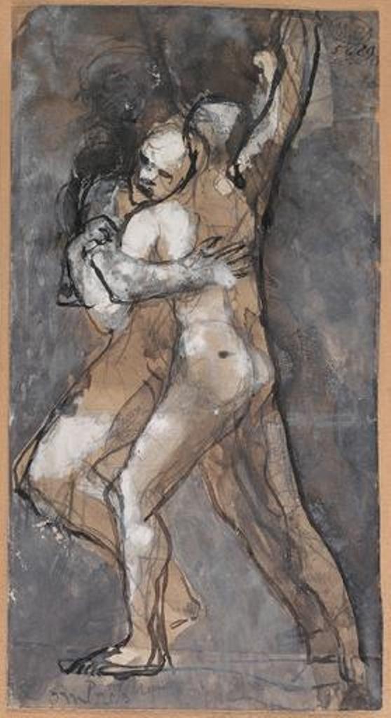 Auguste Rodin. Ombres enlacées vers 1880, mine de plomb ; plume ; lavis brun ; lavis gris ; gouache