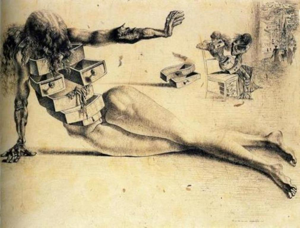 Salvador Dali. The city of drawers. Study for the anthropomorphic cabinet 1936