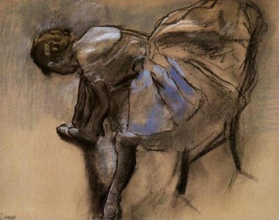 Edgar Degas. Seated Dancer Tying Her Slipper 1880