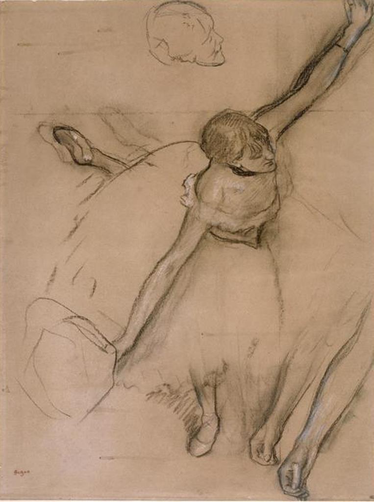 Edgard Degas. Danseuse au bouquet et étude de bras 1879-1880. Fusainjpg