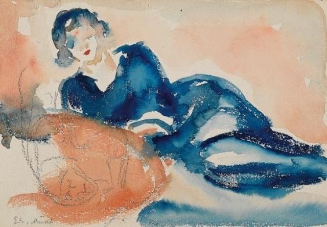 Edvard Munch. Femme allongée. Crayon et aquarelle sur paier