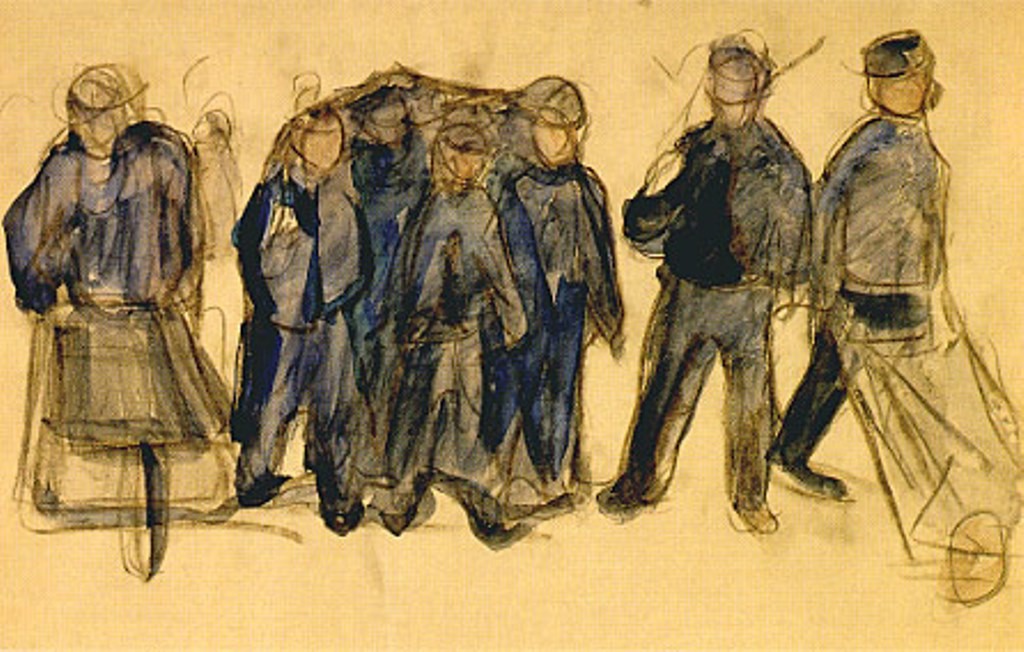 Edvard Munch. Group of Workers 1907. Aquarelle