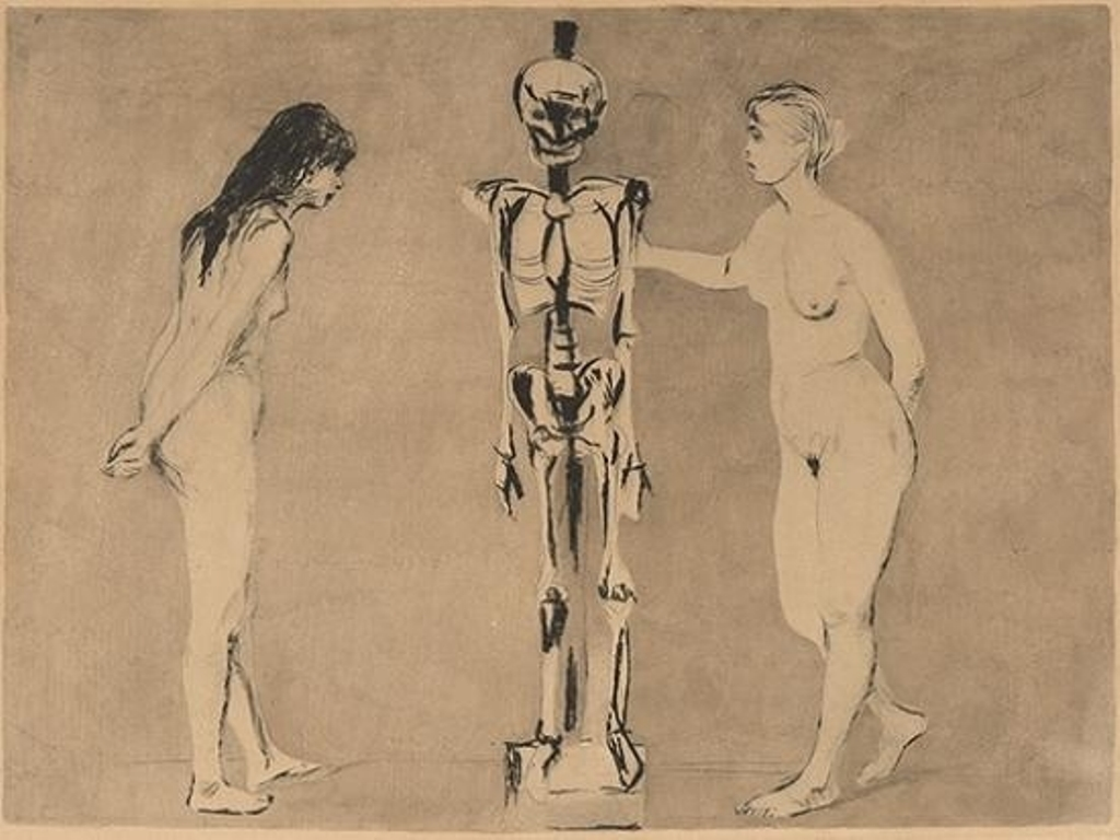 Edvard Munch. The women and the skeleton 1896. Encre