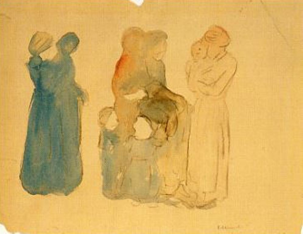 Edvard Munch. Women and children 1907-1908. Aquarelle