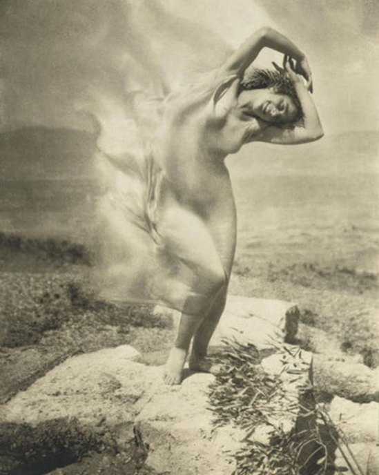 Edward J. Steichen. Wind Fire. Therese Duncan on the Acropolis 1921. Via abc.net
