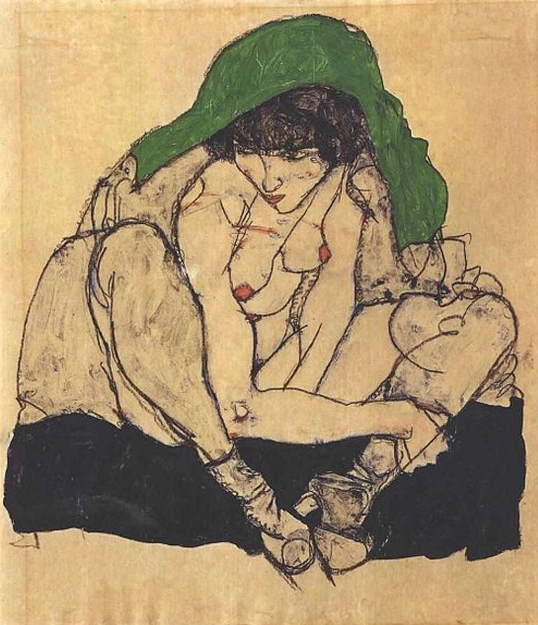 Egon Schiele. Crouching female nude with green headscarf