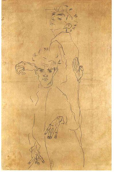 Egon Schiele. Double1 Autoportrait