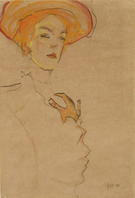 Egon Schiele. Gerti Schiele in orange hat 1910