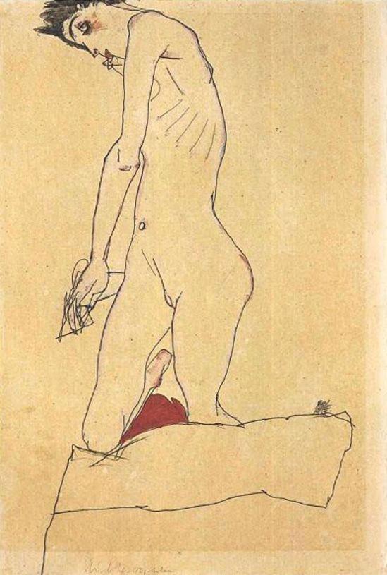 Egon Schiele. Kneeling nude 1913