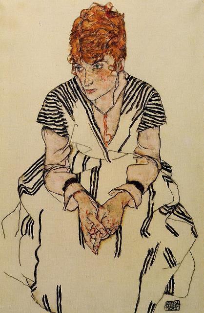 Egon Schiele. La Belle-sœur de l'artiste dans une robe à rayures 1917
