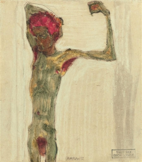 Egon Schiele. L'anarchiste 1910. Pastel on paper