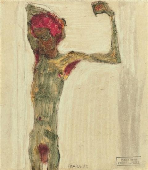 Egon Schiele. L'anarchiste 1910. Pastel on paper