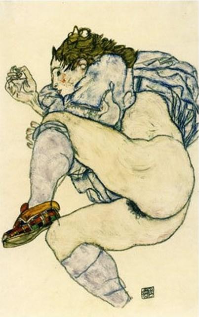 Egon Schiele. Nu à la pantoufle à carreaux 1917