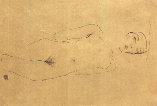 Egon schiele. Reclining female nude 1911