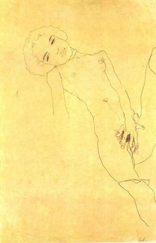 Egon Schiele. Reclining female nude 1914