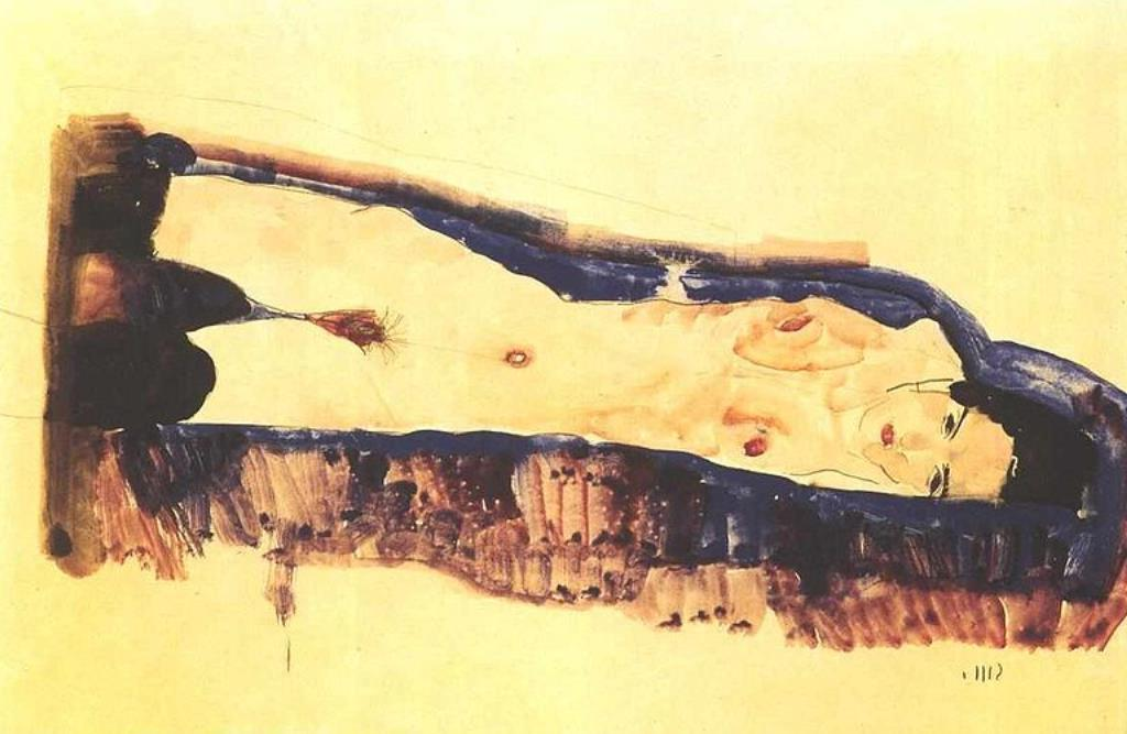 Egon Schiele.  Reclining female nude with black stockings 1911