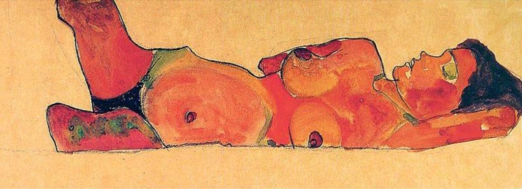 Egon Schiele. Reclining female nude