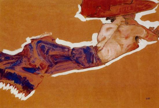 Egon Schiele. Reclining semi nude with red hat 1910