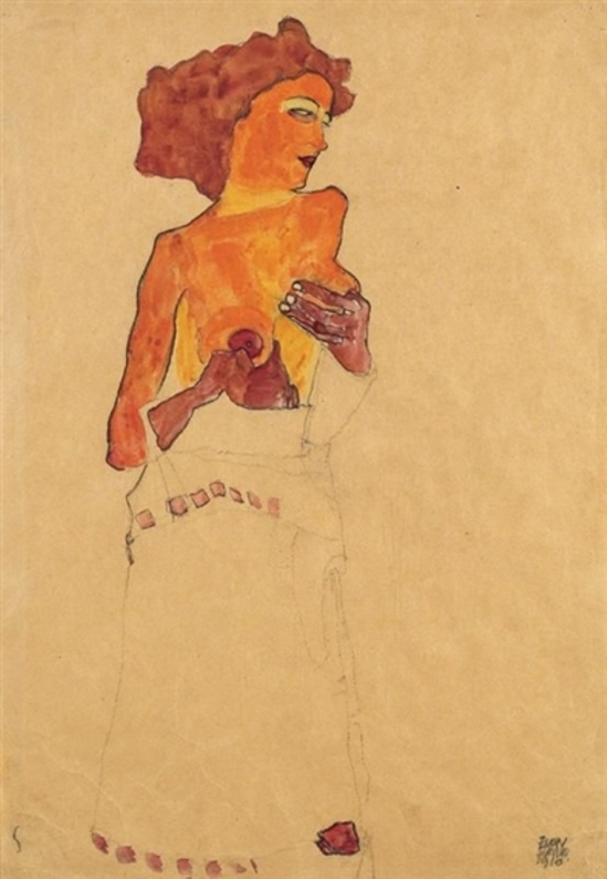 Egon Schiele. SEMI-NUDE GIRL HOLDING HER BREAST, FACING RIGHT). Charcoal on paper