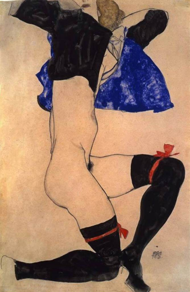 Egon Schiele. Semi nude in black stockings and red garter 1913