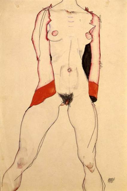 Egon Schiele. Standing woman in red jacket 1913