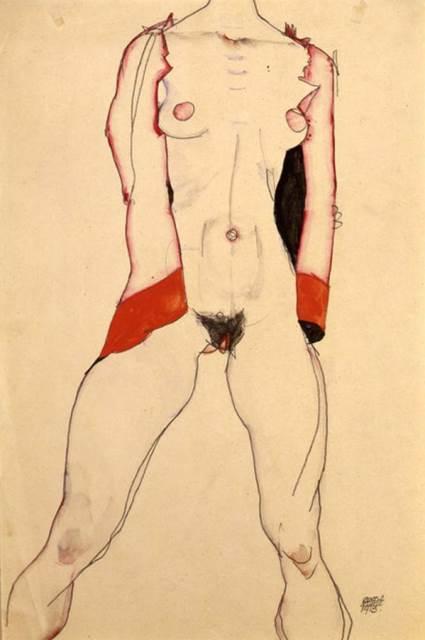 Egon Schiele. Standing woman in red jacket 1913