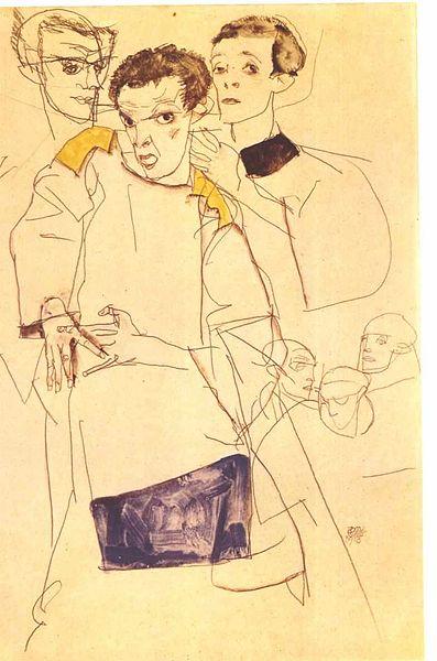 Egon Schiele. Triple Autoportrait 1913