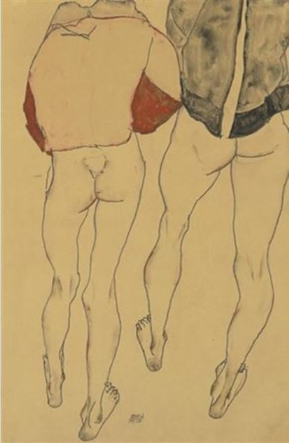 Egon Schiele. Two standing semi-nude females 1913