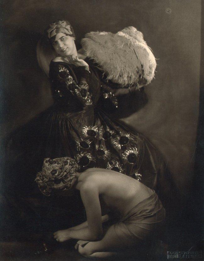 Frantisek Drtikol. Ervina Kupferová in costume with fan 1920. Via liveauctioneers