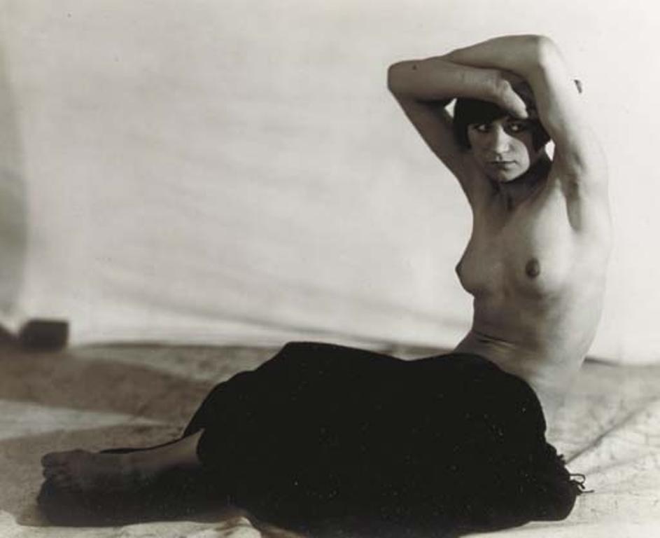 Frantisek Drtikol. Untitled (Seated nude with drapery), 1922-1928. Via mutualart