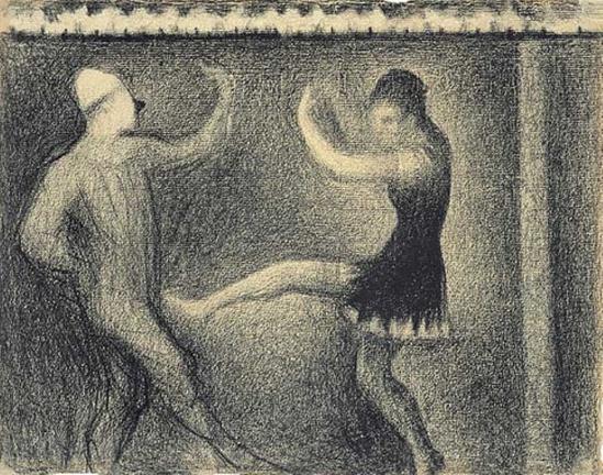 Georges Seurat.  Pierrot et Colombine  1887-1888