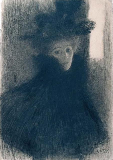 Gustav Klimt. Dame avec cape et chapeau 1897-1898