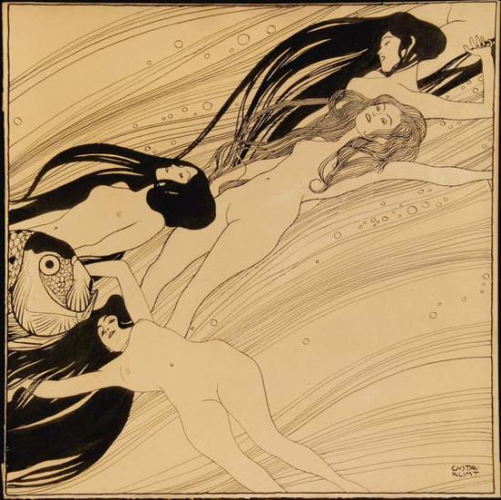 Gustav Klimt. Sang de poisson. Illustration pour la revue Ver Sacrum n°3, 1897-1898