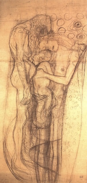 Gustav Klimt.Study Drawing for  The three ages of woman 1904-1905